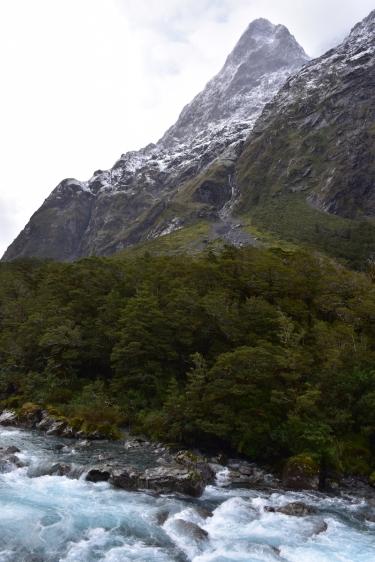 El riu, el bosc i la muntanya nevada, imatge típica durant el trajecte