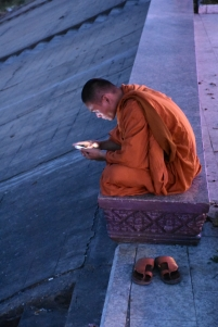 Un monjo consulta el seu mòbil a Riverside Walkway