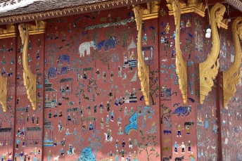 Detall dels murals a Wat Xieng Thong